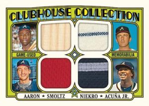 Clubhouse Collection Quad Relics Hank Aaron, John Smoltz, Phil Niekro, Ronald Acuna Jr MOCK UP