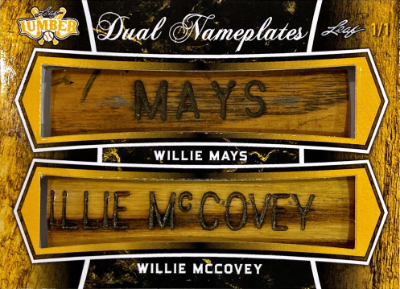 Dual Nameplate Relics Willie Mays, Willie McCovey
