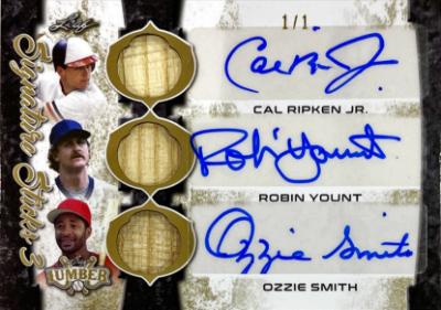 Signature Sticks 3 Auto Gold Cal Ripken Jr, Robin Yount, Ozzie Smith