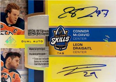 2020 NHL All-Star Skills Fabrics Dual Auto Tag Connor McDavid, Leon Draisaitl