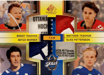2020 NHL All-Star Skills Fabrics Quad Tag Brady Tkachuk, Mitch Marner, Matthew Tkachuk, Elias Pettersson