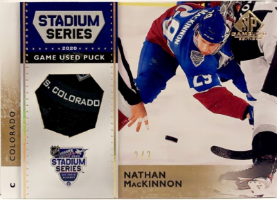 2020 NHL Stadium Series Game-Used Pucks Nathan MacKinnon