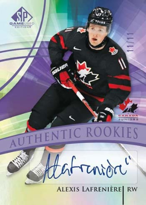 Base Uniform #'d Auto Authentic Rookies Team Canada Alexis Lafreniere MOCK UP