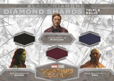 Diamond Shards Triple Relics Zoe Saldana as Gamora, Chris Pratt as Star-Lord, Dave Bautista as Drax MOCK UP