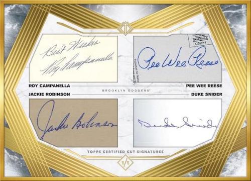 HOF Combo Teammates Cut Signatures Roy Campanella, Jackie Robinson, Pee Wee Reese, Duke Snider MOCK UP
