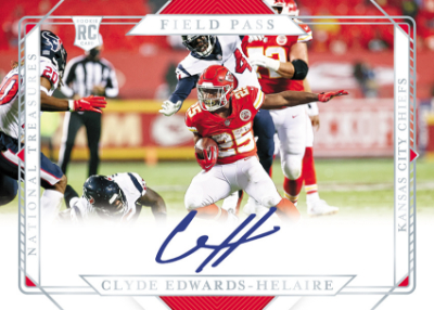 Rookie Signatures Field Pass Holo Silver Clyde Edwards-Helaire MOCK UP