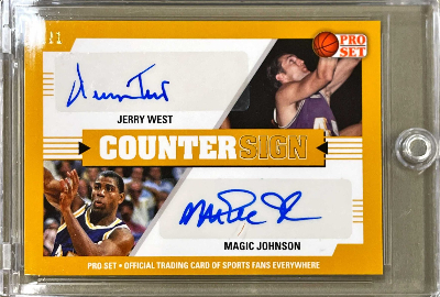 Countersign Dual Auto Gold Jerry West, Magic Johnson
