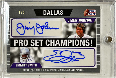 Pro Set Champions Dual Auto Silver Jimmy Johnson, Emmitt Smith