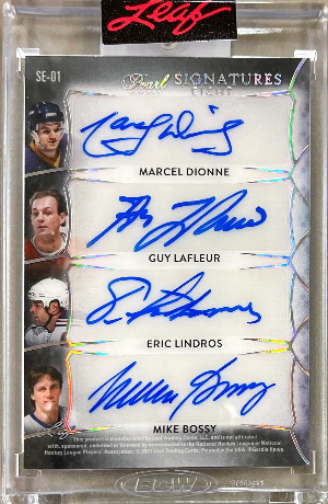 Pearl Signatures 8 Back Marcel Dionne, Guy Lafleur, Eric Lindros, Mike Bossy