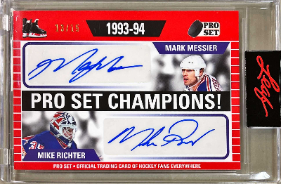 Pro Set Champions Dual Auto Red Mark Messier, Mike Richter