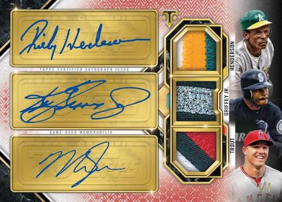 70 Years of Topps Three Player Auto Relic Mike Trout, Ken Griffey Jr, Rickey Henderson MOCK UP