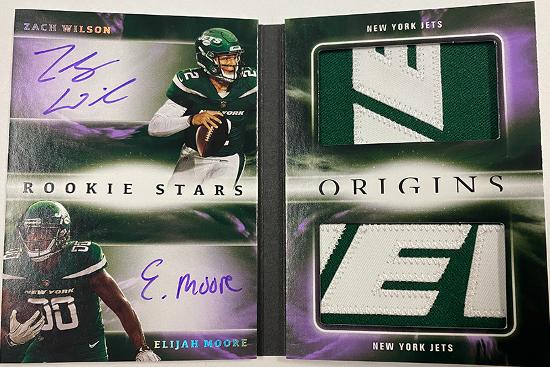 Rookie Stars Dual Patch Signature Booklet Zach Wilson, Elijah Moore
